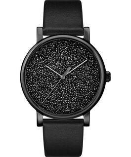 Crystal Opulence with Full Swarovski Dial 38mm Leather Strap Watch Gold-Tone/Black large