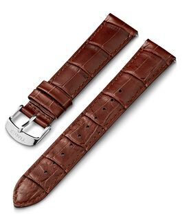 20mm Crocodial Pattern Leather Strap Brown large