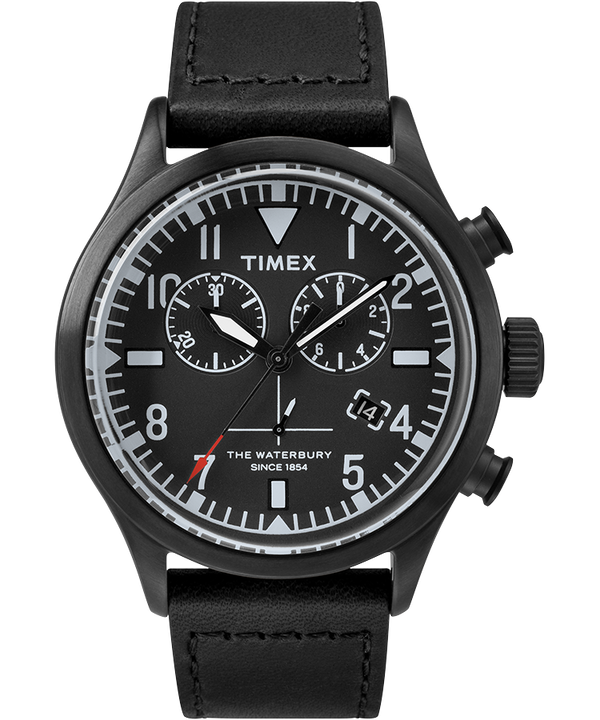 Timex x Todd Snyder Waterbury Chronograph 42mm Leather Strap Watch  large