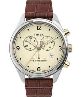 Waterbury Traditional Chronograph 42mm Leather Croco Strap Watch Stainless-Steel/Brown/Cream large