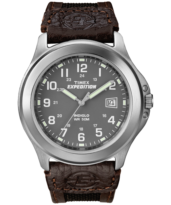 Expedition Metal Field 39mm Leather Strap Watch Silver-Tone/Black/Gray large