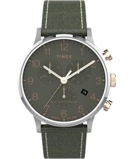 Waterbury-40mm-Classic-Chrono-Leather-Strap-Watch Stainless-Steel/Green large