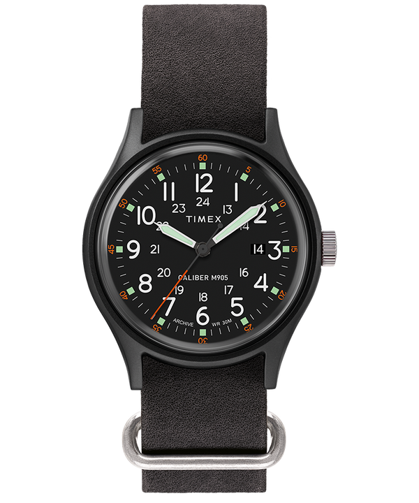 MK1 40mm Stonewashed Leather Strap Watch  large