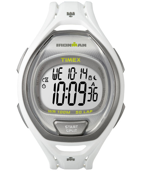 IRONMAN Sleek 50 Full-Size 42mm Resin Strap Watch White/Silver-Tone large