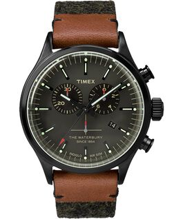 Waterbury Traditional Chronograph 42mm Felt with Leather Watch Gray/Black large