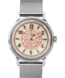 Timex x Todd Snyder Beekman 40mm Stainless Steel Mesh Band Watch Stainless-Steel/Cream large