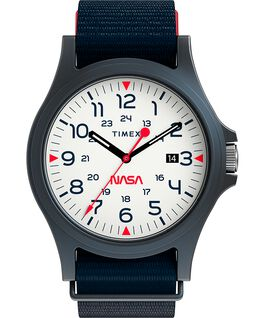 Acadia 40mm Fabric Strap Watch Featuring NASA Logo on Dial Blue/White large