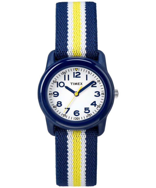 Kids Analog 29mm Elastic Fabric Strap Watch Blue/White large