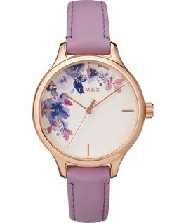 Crystal Bloom with Swarovski Elements 36mm Leather Watch Gold-Tone/Purple large
