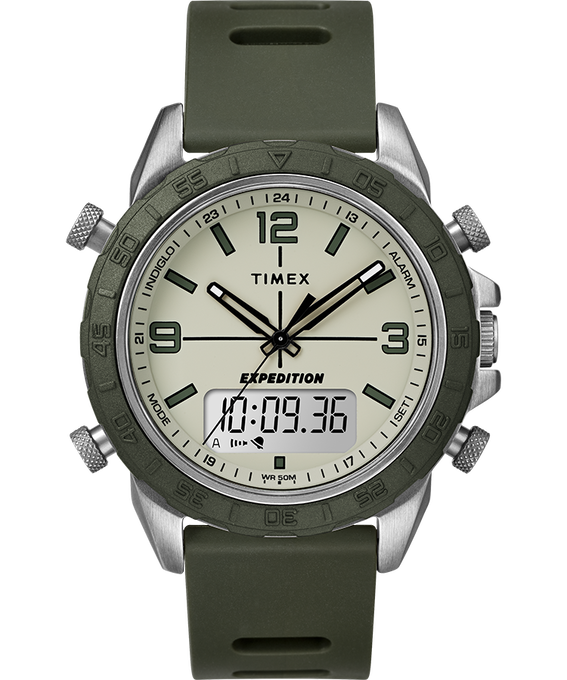 Expedition Pioneer Combo 41mm Quick Release Silicone Strap Watch Silver-Tone/Green/Black large