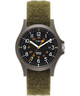 Acadia 40mm Hook-and-Loop Fabric Strap Watch Green/Black large