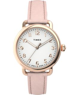 Standard 34mm Leather Strap Watch Rose-Gold-Tone/Pink/Silver-Tone large