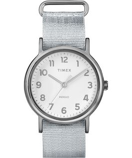 Weekender 38mm Metallic Fabric Strap Watch Chrome/Silver-Tone/White large