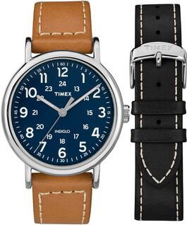 Weekender 40mm 2 Piece Leather Strap Watch Gift Set Chrome/Tan/Blue large