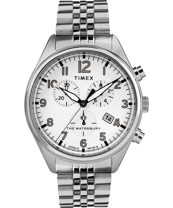 Waterbury Traditional Chronograph 3-Dial 42mm Stainless Steel Bracelet Watch  large