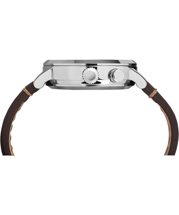 iQ+ Move Metro 42mm Leather Strap Watch Silver-Tone/Brown/Gray (large)