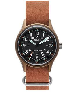 MK1 40mm Stonewashed Leather Strap Watch Green/Brown large