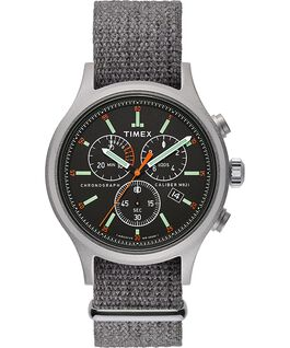 Archive Allied Chronograph 42mm Fabric Strap Watch Silver-Tone/Gray/Black large