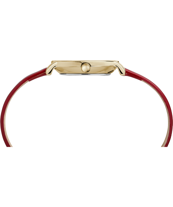 Milano Oval 24mm Patent Leather Strap Watch Gold-Tone/Red/Silver-Tone large