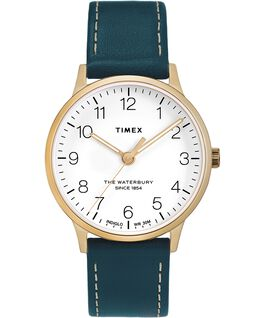 Waterbury 36mm Classic Leather Strap Watch Gold-Tone/Blue/White large