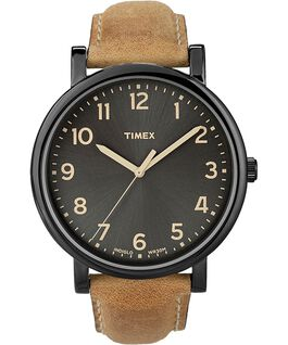 Originals Oversized with Numbers Leather Watch Black/Tan large