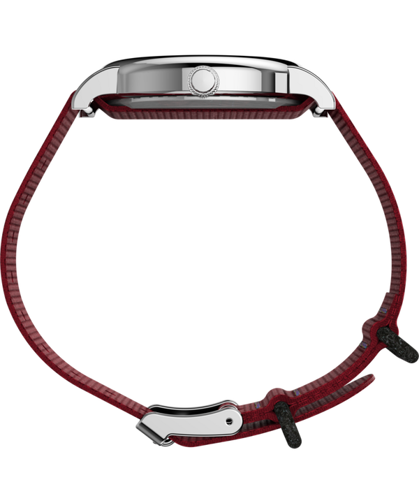 Timex x Peanuts - Snoopy 38mm Fabric Strap Watch Silver-Tone/Red/White large