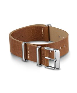 20mm Slip Thru Leather Strap Brown large