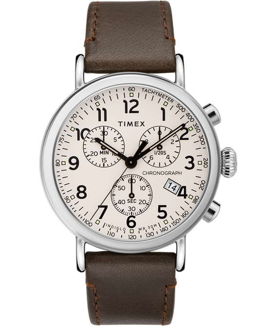 Standard Chronograph 40mm Leather Strap Watch Silver-Tone/Brown/Cream large