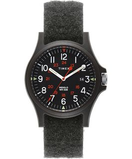 Acadia 40mm Hook-and-Loop Fabric Strap Watch Black large