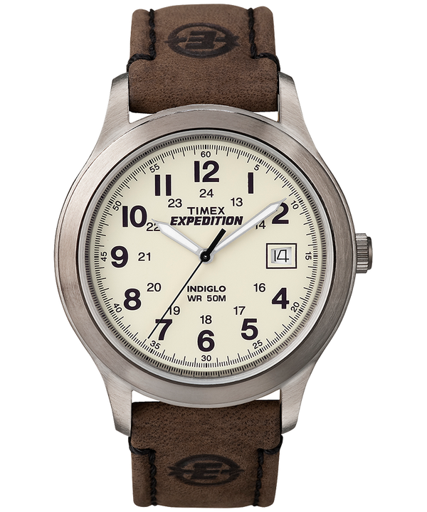 Expedition Metal Field 39mm Leather Strap Watch Silver-Tone/Brown/Natural large