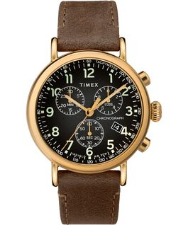 Standard Chronograph 40mm Leather Strap Watch Gold-Tone/Brown/Gray large