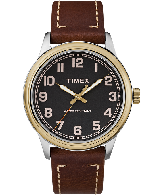 New England 40mm Leather Watch Gold-Tone/Brown/Black large