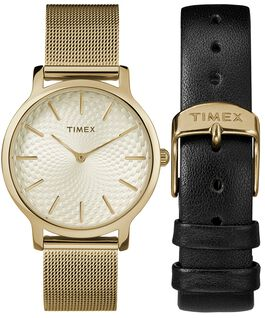 Metropolitan 34mm Mesh Band Watch Giftset With Extra Strap Gold-Tone large