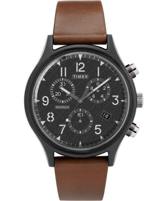 MK1 Steel Supernova 42mm Leather Strap Watch Gray/Brown/Black large
