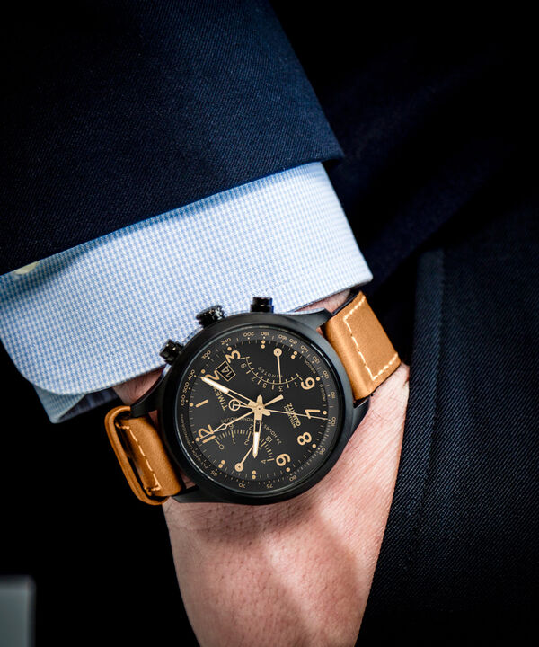 Intelligent Quartz® Flyback Chronograph 43mm Leather Strap Watch Black/Tan large