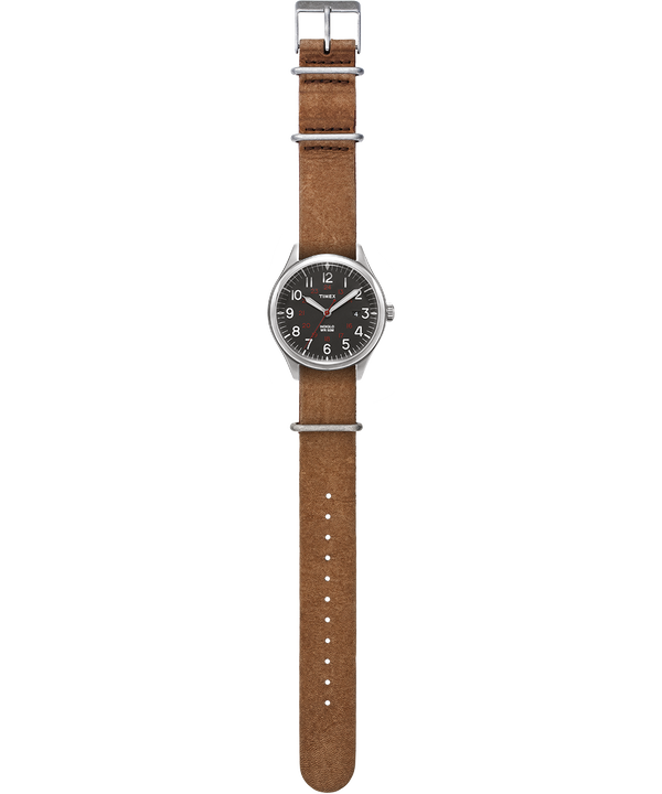 Waterbury United 38mm Stonewashed Leather Strap Watch Silver-Tone/Brown/Black large