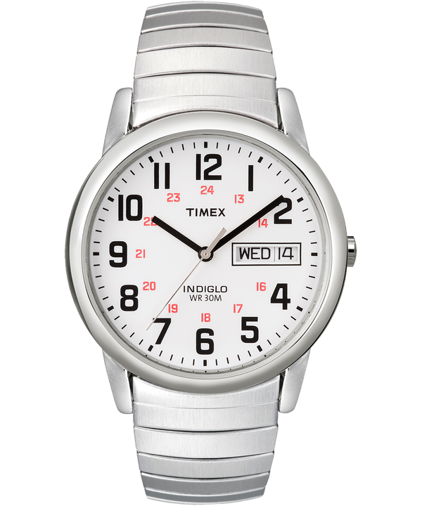Easy Reader Day Date 35mm Expansion Band Watch Silver-Tone/Stainless-Steel/White large