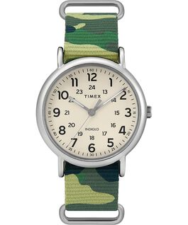 Weekender 40mm Nylon Strap Watch Silver-Tone/Camo/Cream large