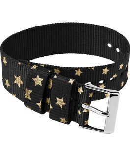 20mm Fabric Single Layer Slip Thru Strap with Stars Black large