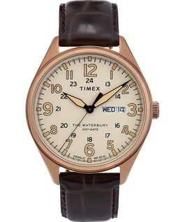 Waterbury Traditional Day Date 42mm Leather Strap Watch Gold-Tone/Brown large