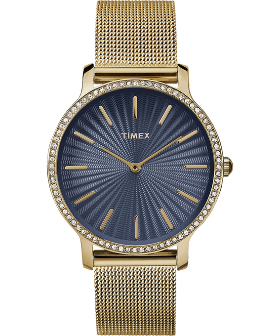 Metropolitan with Swarovski 34mm Stainless Steel Mesh Watch Gold-Tone/Blue large