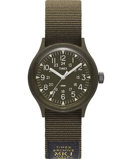 MK1 Military 36mm Grosgrain Strap Watch Black/Green large