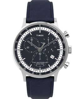 Waterbury Classic Chronograph 40mm Leather Strap Watch with Dial Accent Stainless-Steel/Blue large
