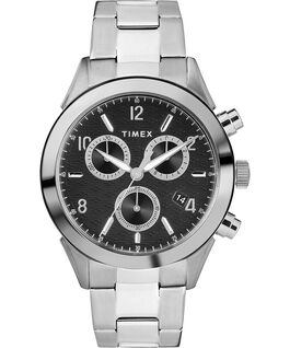 Torrington Mens Chronograph 40mm Bracelet Watch Stainless-Steel/Black large