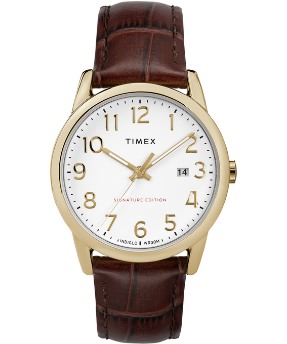 Easy Reader Signature 38mm Leather Watch with Date Gold-Tone/Brown/White large