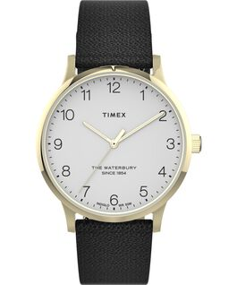 Waterbury 36mm Classic Leather Strap Watch. Gold-Tone/Black/White large