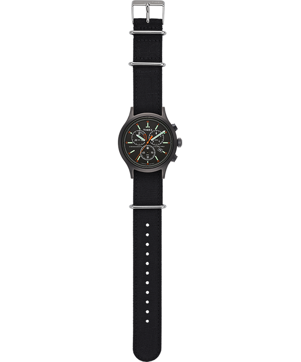 Allied Chronograph 42mm Fabric Strap Watch Black/Black/Black large