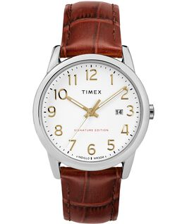 Easy Reader Signature 38mm Leather Watch with Date Two-Tone/Brown/White large