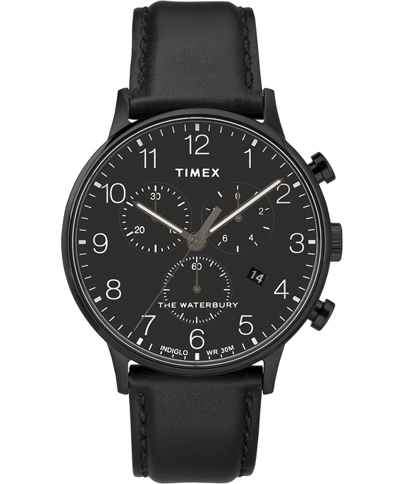 Waterbury-40mm-Classic-Chrono-Leather-Strap-Watch Black large