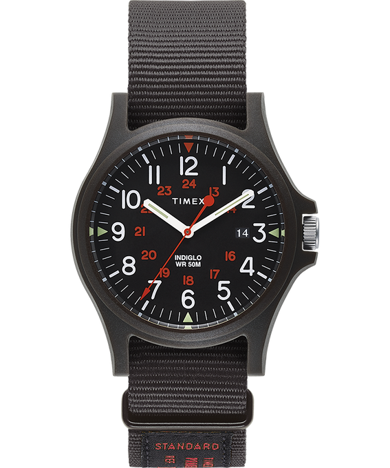 Acadia 40mm Military Grosgrain Strap Watch Black large